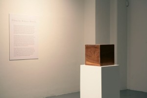 Robert Morris, Box with the Sound of its Own Making, 1961, Walnut box, speaker, and three-and-one-half-hour recorded tape  9 1/2 x 9 1/2 x 9 1/2 in. (Courtesy of the artist and Sonnabend Gallery)