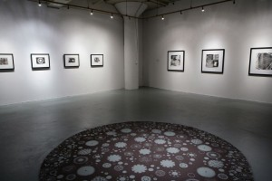 Heather Lewis, drawings (2008-2010). Center: Drawing (elements), 2010, Granular rutile on floor, 120 in. diameter (Courtesy of the artist)